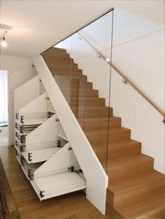 10 Interior Stairs Design Ideas - EveSteps Choosing the perfect interior stairs design is not a task that is worth underestimating. The beauty of a home lies not in the size or the brand of its. Staircase Storage, House Staircase, Stair Storage, Modern Staircase, Storage Under Stairs, Spiral Staircases, Pantry Storage, Closet Storage, Bathroom Storage