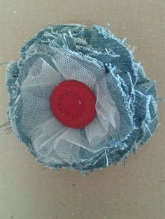 Red white and blue denim flower
