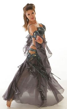 Silver/grey belly dance costume