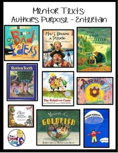 Purpose: 8 Steps Easy as Pie Mentor texts and more to teach Author's Purpose.Mentor texts and more to teach Author's Purpose. Reading Lessons, Reading Strategies, Reading Skills, Reading Comprehension, Comprehension Strategies, Guided Reading, Reading Stamina, Literacy Strategies, Reading Logs