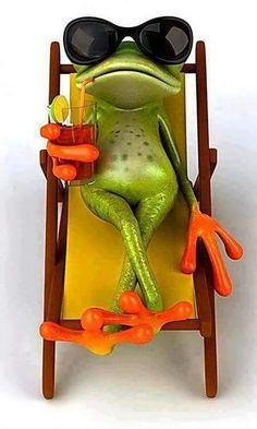 Grenouille et chaise longue Funny Frogs, Cute Frogs, Animals And Pets, Funny Animals, Cute Animals, Frog Art, Frog And Toad, Kermit, Amphibians