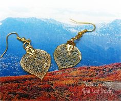Real Leaf Jewelry, Colorado Aspen Leaves, 3 piece set Necklace Earrings 24K gold plated. $29.95, via Etsy.