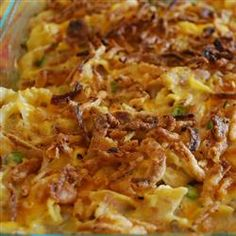 Best Tuna Casserole Recipe- The entire family loved this and did not find it to fishy. How I altered: I fried the onions along with fresh mushrooms in a little butter (I did not use canned mushrooms). I added half a can of milk to the soup mixture. Mixed cheese into the casserole then topped with more cheese and French's fried onion rings (in a can).