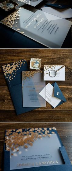 Really beautiful, modern and original invitations.Acrylic foil wedding invitation. #weddings #weddinginvitation