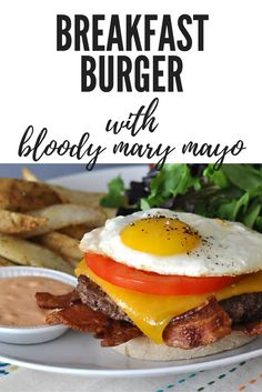 The breakfast burger is a bistro classic, although we've upped the flavor ante by using lean buffalo and adding zesty mayo inspired by our favorite morning cocktail. Don't let the name fool you, this protein-packed burger is delicious any time of day. #burger #brunch #grilling #recipe #meat #buffalo #breakfast #lunch #dartagnanfoods