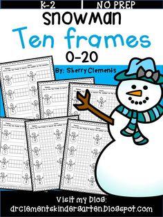 Snowman Ten Frames 0-20 - Great for teaching ten frames, review, morning work, homework, math centers and more! Kindergarten and first grade math - RTI - $
