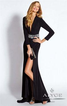 Long Black Slit V Neck Jersey Prom Dresses by Alyce 35663