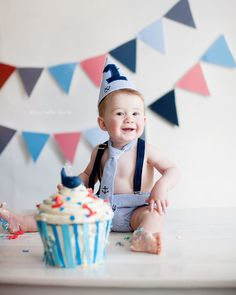 Nautical Smash Cake Outfit, Birthday Boy Outfit,  Necktie, Suspenders, Diaper Cover and Party Hat