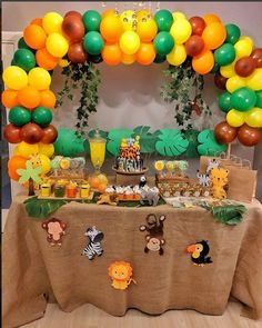 Baby Shower Ideas For Boys Themes Jungle First Birthday Parties Ideas – 2019 - Baby Shower Diy Safari Theme Birthday, First Birthday Party Themes, Wild One Birthday Party, Safari Party, Baby Birthday, First Birthday Parties, First Birthdays, Jungle Theme Cakes, Boy Baby Shower Themes