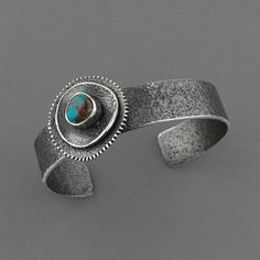 Cuff   Mary Irene (Creek).  'Stone Flower' Sterling Silver, Natural Bisbee Turquoise