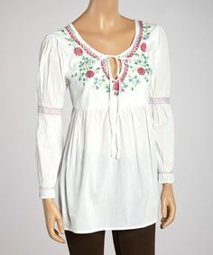 Look at this Shabri Fashions White & Fuchsia Floral Embroidered Three-Quarter Sleeve Tunic on #zulily today!