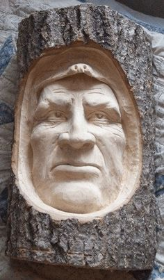 This hand-carved indian face in wood is also AKA snowmobile accident. This face is about tall by 9 across. It comes from a piece of popple fire wood. Wood Carving Faces, Tree Carving, Wood Carving Patterns, Wood Carving Art, Wood Carvings, 3d Cnc, Wood Creations, Wooden Art, Wood Sculpture