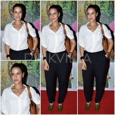 Neha Dhupia in a white shirt with loose pants, both from H&M with olive green Repetto shoes and a fringe bag from Vanessa Russo.