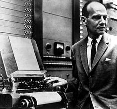 Milton Babbitt with a Moog synthesizer.