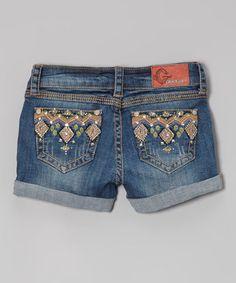 Look at this #zulilyfind! Medium Wash Embroidered Pocket Rolled-Cuff Shorts by GRACE in LA #zulilyfinds