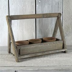 ACHICA | Satchville Garden Old Wooden Crate With 3 Antiqued Red Cactus Pots