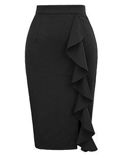 GRACE KARIN Women Elastic Stretchy Office Bodycon Split Pencil Skirt Size XL Black