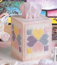Hearts Around * Plastic Canvas Pattern * Tissue Box Cover Baby