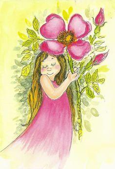 quenalbertini: by Virpi Pekkala Woman Painting, Painting For Kids, Fabric Painting, Painting & Drawing, Flower Activities For Kids, Watercolor Flowers, Watercolor Art, Gif Animé, Flower Fairies