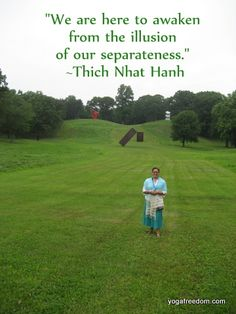Green field with Thich Nhat Hanh quote