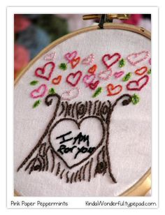 The 2nd of 12 free embroidery patterns at Pink Paper Peppermints. #embroidery #free #pattern