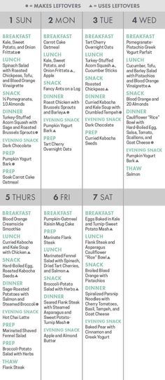 There's a printable calendar to help you keep track of what to cook and eat, and when.