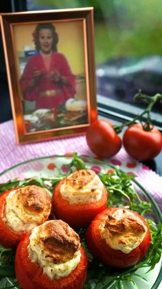 Individual Cheese Soufflés baked in Tomatoes