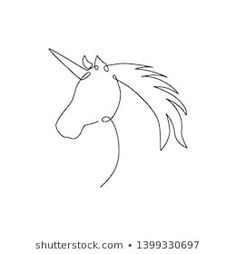 Single Continuous Line Drawing Beautiful Unicorn Stock Vector (Royalty Free) 1399330685 Sea Drawing, Unicorn Drawing, Animal Line Drawings, Cool Art Drawings, Single Line Drawing, Continuous Line Drawing, Unicorn Horse, Unicorn Art, One Line Animals