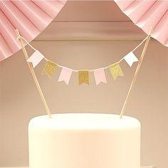 Dekoration für Torten Kuchen Rosa Flaggen Gold Glitzer Wimpelkette