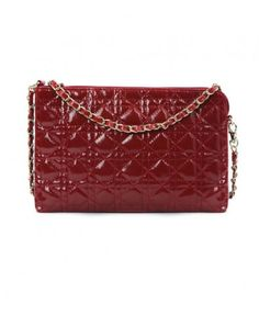 Rectangular Stitch Quilted Patent Bag in Red