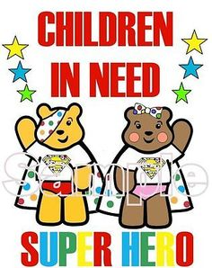 Children in Need Pudsey Bear Iron on T-Shirt Transfer Super Hero Pudsey & Blush in Clothes, Shoes & Accessories, Kids' Clothes, Shoes & Accs., Boys' Clothing (2-16 Years) | eBay