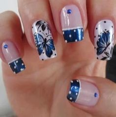 Girls put in a lot of effort to maintain beautiful nails & decorate them with stylish Nail Art designs here we are sharing for readers to get the ideas. Butterfly Nail Designs, Butterfly Nail Art, Blue Nail Designs, Beautiful Nail Designs, Blue Butterfly, Blue Design, Butterfly Flowers, Blue Nails, My Nails