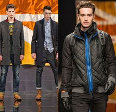 Superdry 2014-2015 Fall Autumn Winter Mens Runway Looks Fashion - London Collections - Raw Dry Rigid Selvedge Selvage Denim Jeans Outerwear Pea Coat Bomber Down Waffle Quilted Jacket Hoodie Parka Chunky Knit Sweater Jumper Pullover Multi-Panel Blazer Sportcoat Shawl Collar Nautical Furry Camouflage