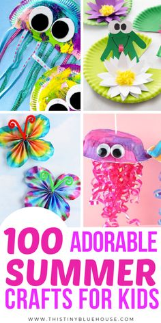 keep your kiddos engaged and busy this summer with these 100 super fun boredom busting summer crafts for kids! Great for kids of all ages these crafts are guaranteed to provide hours of fun. Summer Activities For Toddlers, Summer Crafts For Kids, Summer Diy, Craft Activities, Preschool Crafts, Fun Crafts, Art For Kids, Tape Crafts, August Kids Crafts