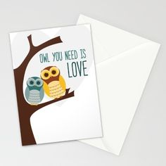 Buy Owl you need is LOVE Stationery Card by Demetria Rose.