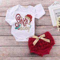 ae66ed06c222 Baby girl Christmas outfit set of romper bodysuit & tutu shorts