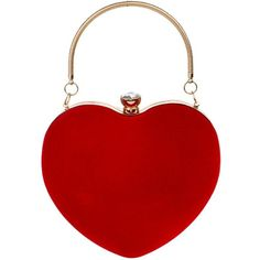 Tina Women's Deluxe Heart Bridal Handbag Evening Party Clutch Purse... ($25) ❤ liked on Polyvore featuring bags, handbags, clutches, purses, evening purses clutches, red hand bags, man bag, red purse and red handbags