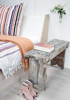 my scandinavian home: A beautiful white Danish home lovely wooden side table