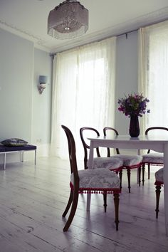 London Victorian House, Dining Room, Timorous Beasties Net Curtains, Farrow & Ball Pale Powder | Remodelista
