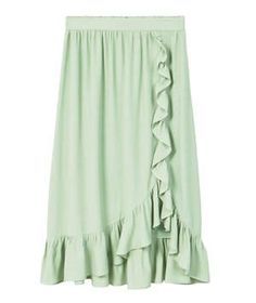 Mango Ruffled Wrap Skirt   More versatile than you'd think, this minty green shade feels fresh during the last days of summer and looks equally great paired with winter whites through the colder months.