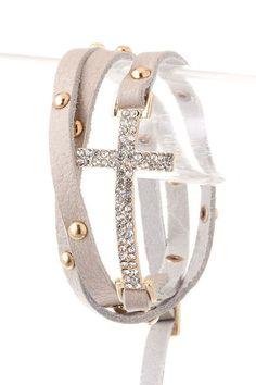 Side Cross Studded All Wrapped Up Bracelet