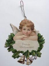 alter kleiner Engel Dresdner Pappe Christbaumschmuck Weihnachten um 1910 selten