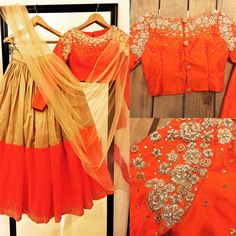 0f3ef569b7fc9 Colour block in style with this classy orange and beige crop top lehenga  from Nazia syed