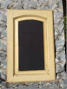 Old cupboard door turned into a chalkboard