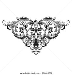 Vintage baroque frame scroll ornament engraving border floral retro pattern antique style acanthus foliage swirl decorative design element filigree calligraphy vector. Damask style