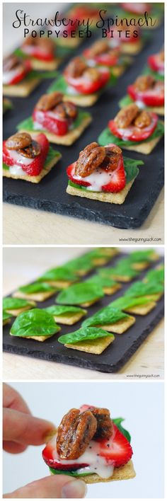 Strawberry Spinach Poppy Seed Bites are an easy, yet impressive appetizer perfect for parties! #gameday #appetizers #client