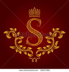 Patterned golden #letter S #monogram in #vintage style. #Heraldic coat of arms. Baroque #logo template.