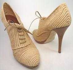 Ralph Lauren Colllection Natural Coleta Raffia Oxford Stacked Bootie Shoe 9 5   eBay