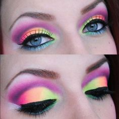 Neon  #neon ☮k☮ pink, green, orange, purple, eye makeup