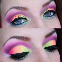Neon  #neon ☮k☮ pink, green, orange, purple, eye makeup